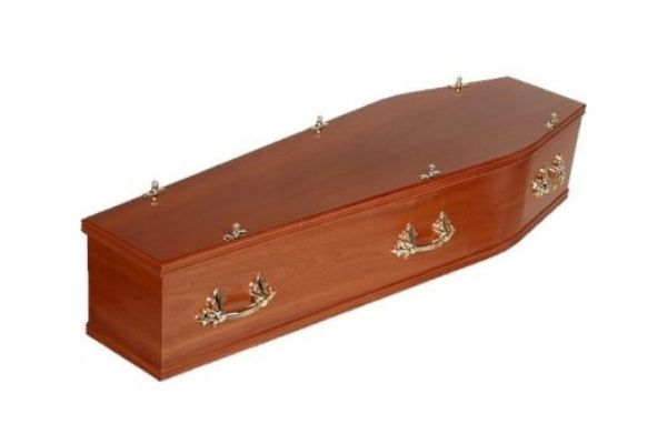 A wooden coffin