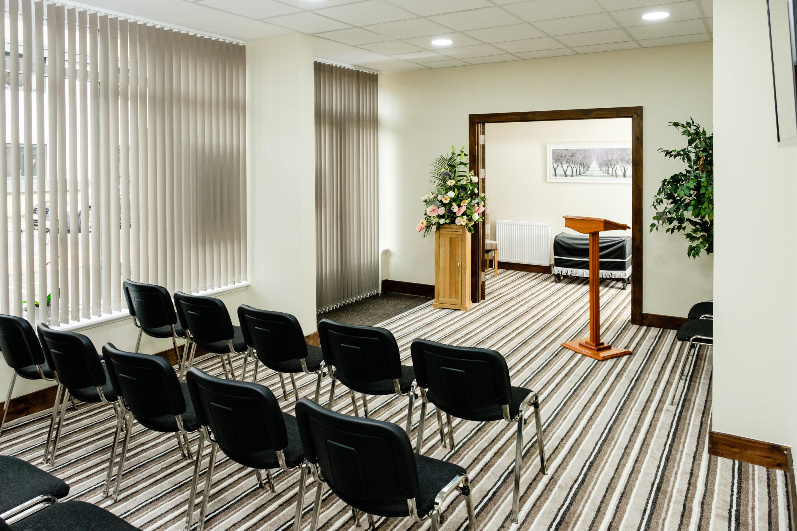 Service room in Kilmarnock funeral home