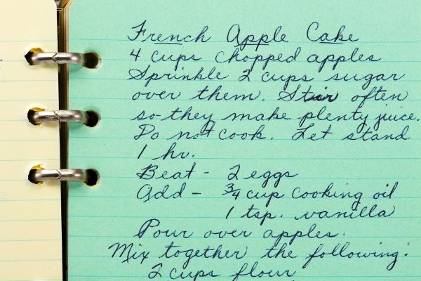 a handwritten recipe on a notebook