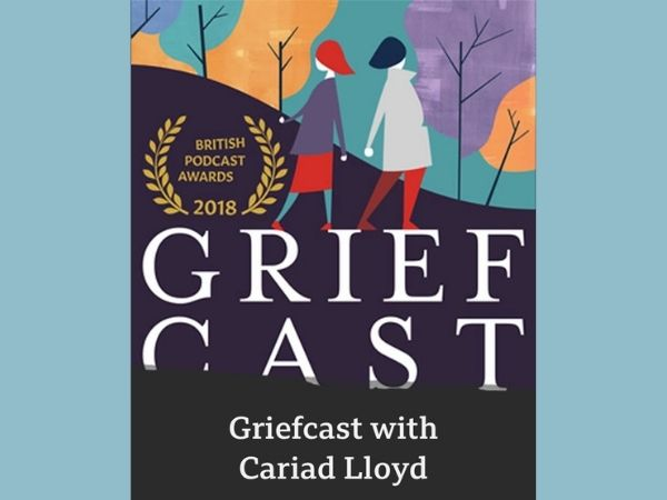 The cover for the Grief Cast ppodcast has two characters walking with pruple yellow and blue trees