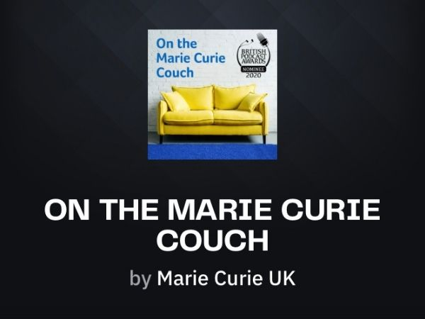 On The Marie Curie Couch - a yellow sofa with a blue carpet and the title of the podcast