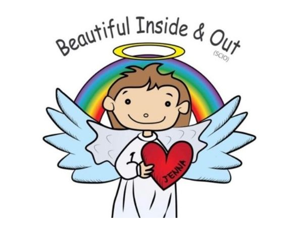 Logo for Beautiful Inside and Out is an angel with a rainbow behind and a heart that has the name Jenna on it