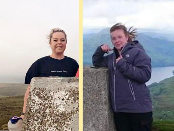 Two women at the top of a hill looking windswept
