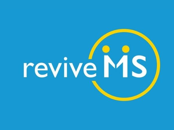 Revive MS logo is blue with white writing and a yellow circle