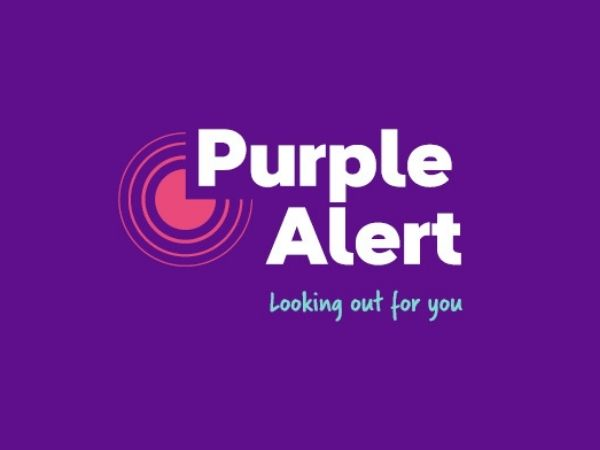 Purple Alert logo with the words Looking out for you
